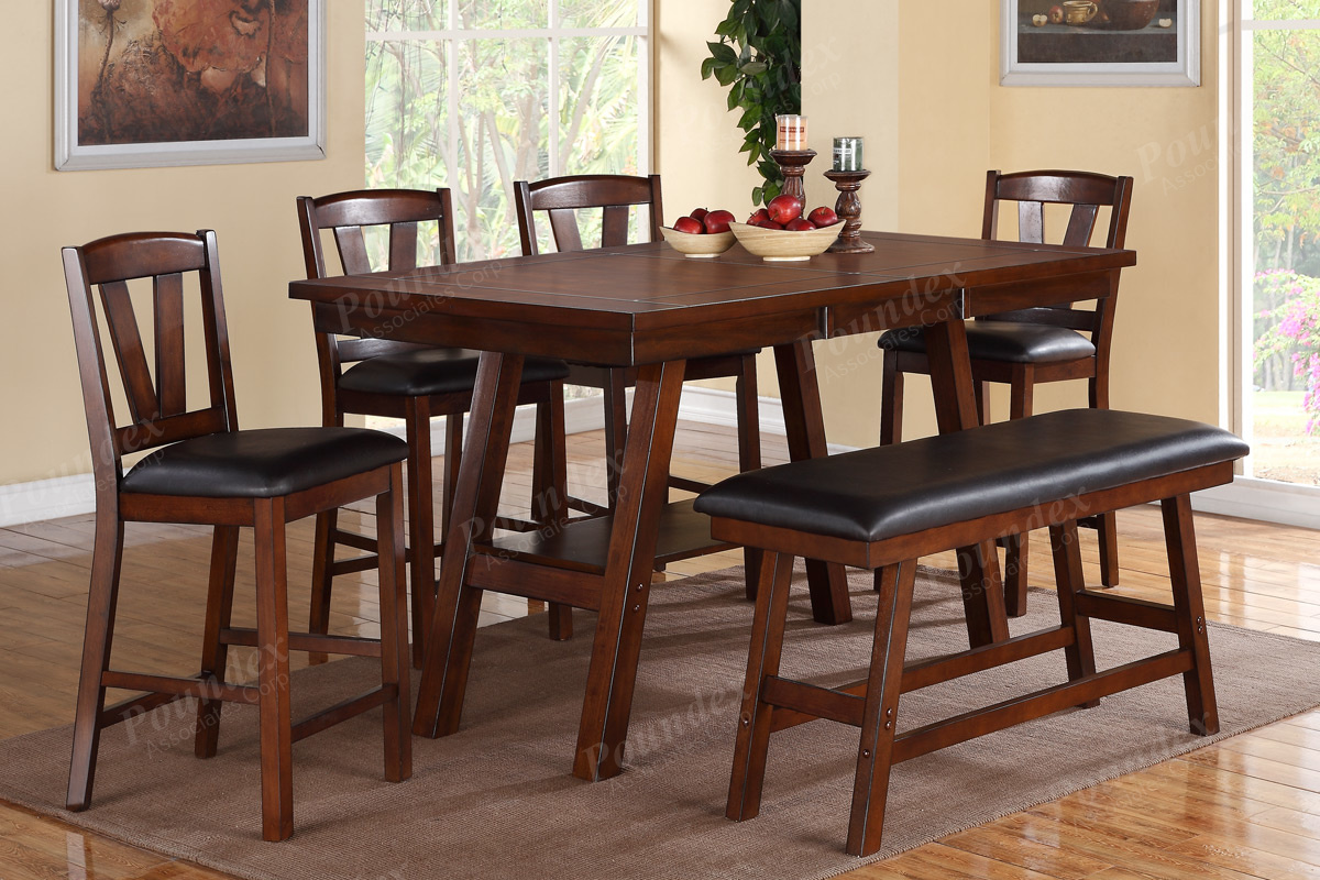 Phenomenal Walnut Table Chairs Bench Counter Dining Set Liam Pabps2019 Chair Design Images Pabps2019Com