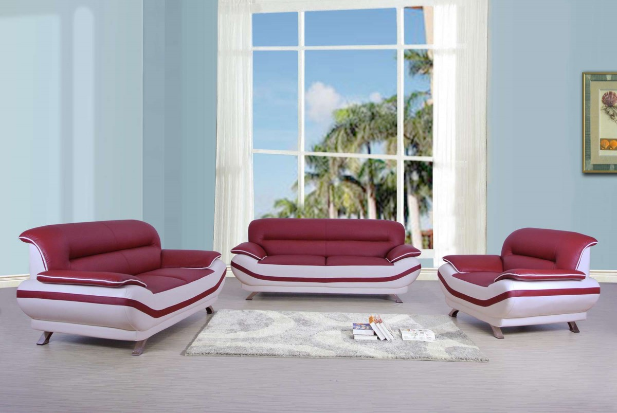 Red And White Leather Sofa Sets