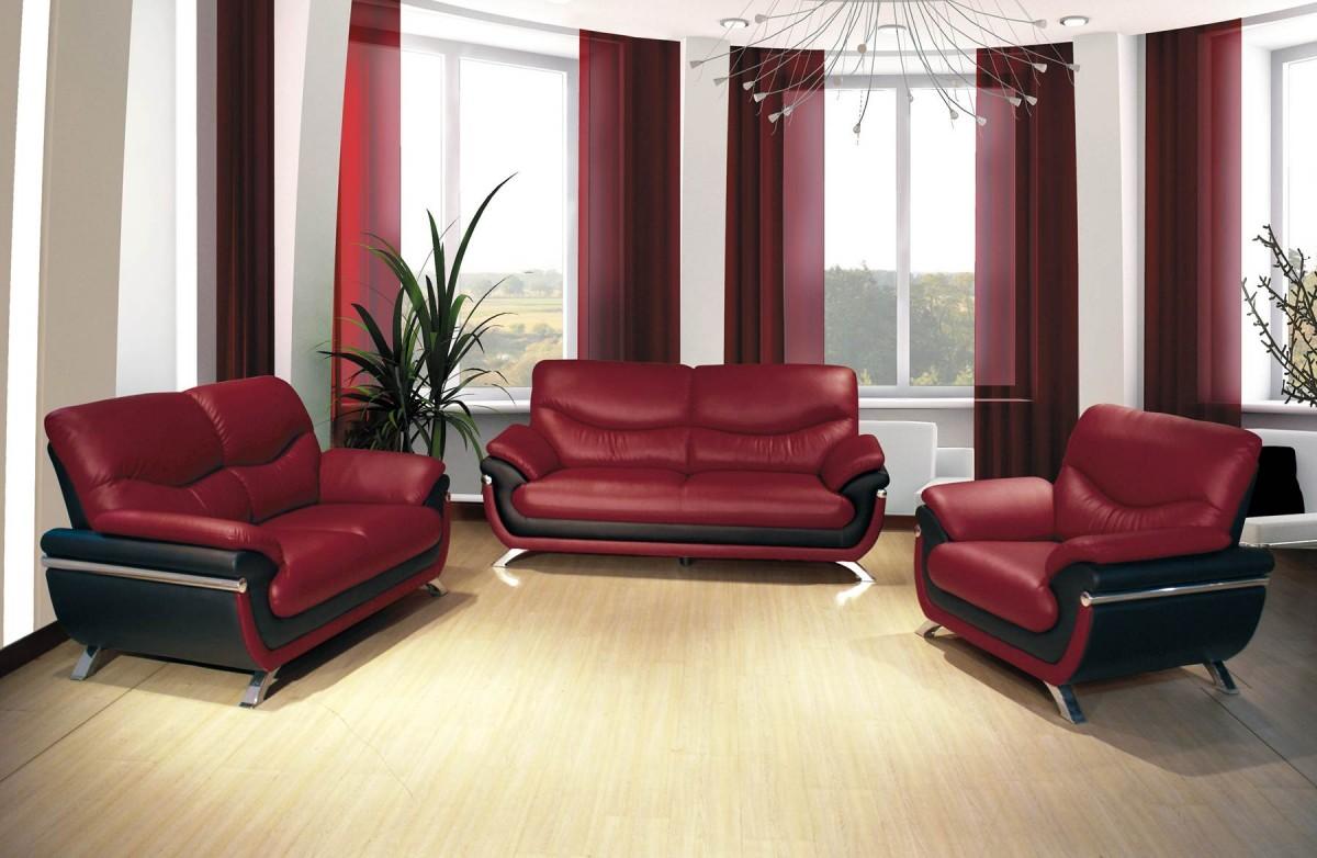 European Alicia Red/ Black 3-piece Modern Sofa Set – LIAM FURNITURE ...