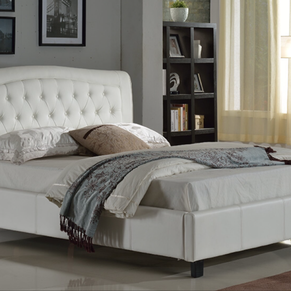 tufted platform bed white king size available in black queen size black white liam furniture. Black Bedroom Furniture Sets. Home Design Ideas